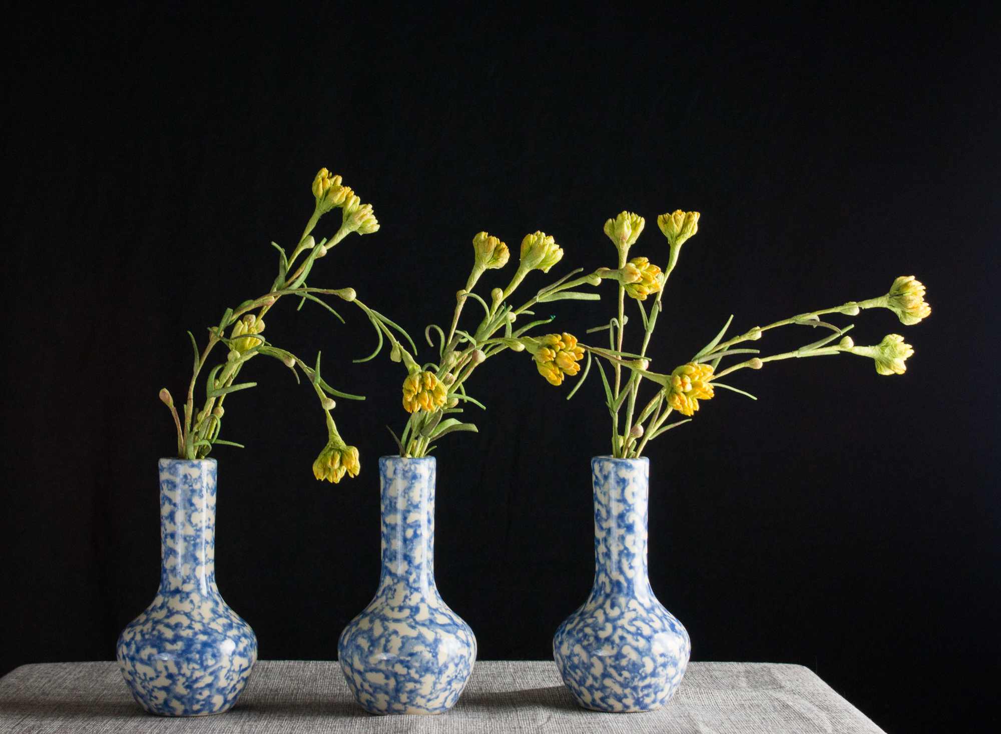 Yellow paper flowers in blue and white vase set of 3 reviewsmspy